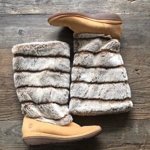 Timberland Tan Leather And Faux Fur Boot 9.5